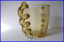 Vase en Verre Moulé Pressé Art Deco XX Pierre D'Avesn Seau Glaçons 20th