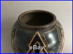 Vase en dinanderie de bronze polychrome décor géométrique Art déco 1930