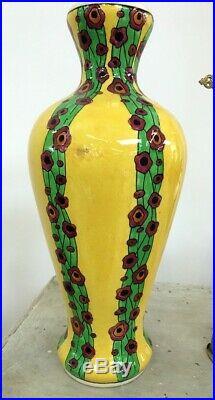 Vase en faïence Art déco 1930 -olga- Boch La Louvière Charles Catteau 42 cm