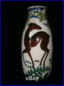 Vase en faience de kéramis aux biches art déco