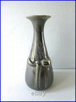 Vase en grès flammé, signé Denbac, décor libellules, Ceramic Vase Dragonflies