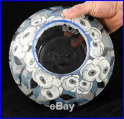 Vase en verre émaillé art deco par Mazoyer