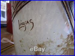 Vase en verre marmoréen à décor stylisé LEGRAS Art-déco