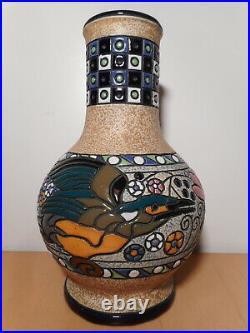Vase faience émaillée ceramique tchèque art déco Amphora tchécoslovaquie