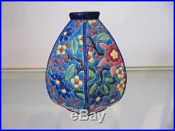 Vase forme art deco émaux de longwy décor floral (longwy enameled vasel)