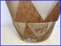 Vase géant de 44 cm en pâte de verre Art Déco gravé à l'acide Degué Schenider