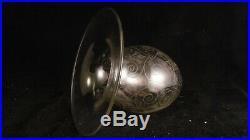 Vase gravé acide Art Déco en cristal de Baccarat, design Georges Chevalier