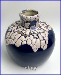Vase grès LEON POINTU Puisaye Carriès 1920 Art-Déco RARE EMAIL PEAU SERPENT