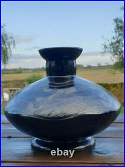 Vase grés ODETTA QUIMPER art déco décor frise de renards ceramique bretagne