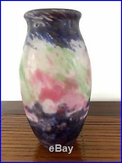 Vase japonisant en pâte de verre Müller Frères Lunéville Art Nouveau Déco