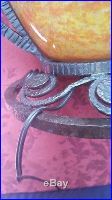 Vase lampe pate de verre monture fer forgé Art déco Erra Muller Brandt haut 32cm
