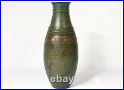Vase ovoïde dinanderie motifs géométriques Art Déco signé XXème siècle