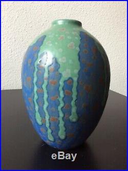 Vase ovoïde en grès émaillé de coulures et taches signé Revernay Art Déco