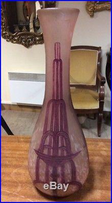 Vase pate de verre legras art deco hauteur 37cm