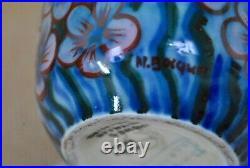 Vase porcelaine Limoges décor main oiseau art déco 1930 C. Tharaud Bocquet
