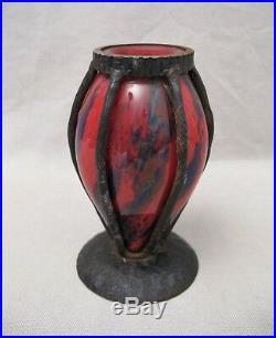 Vase signé A. Delatte Nancy en pâte de verre et fer forgé époque art déco