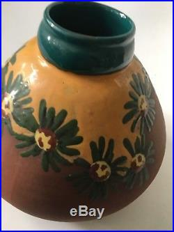 Vase terre brute décor émaillé signé MONTIERES amiens art déco
