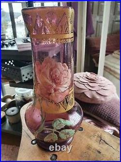 Vase verre émaillé Legras décor de roses art nouveau art déco