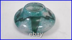 Vase verre style Legras art déco 1930 décor gravé acide vert