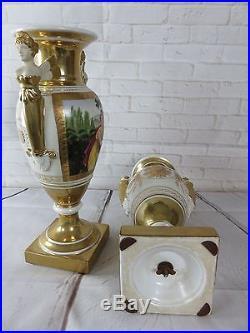 Vases (la paire) de style Empire à décor de cariatides en porcelaine de Paris