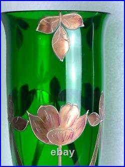 Vases (la paire) en verre émaillé décors de fleurs époque Art Déco