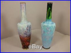 Vases x2 émaux email enamel SARLANDIE XXème era Camille FAURE ART DECO LIMOGES