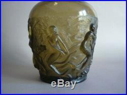 Verlys Vase Aux Sirenes Verre Presse Moule Art Deco 1930