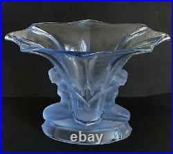 WALTHER & SOHNE vase ART DÉCO ´WINDSOR ´ bleu 1930 2 femmes nues Allemagne