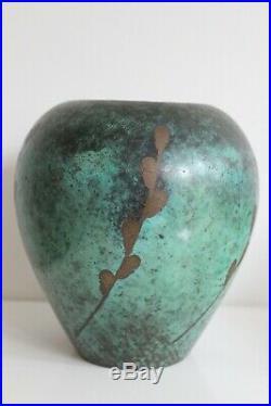 WMF IKORA Vase en Dinanderie de cuivre Art déco 1920s era Paul haustein